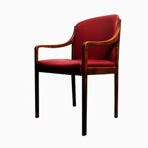 Danish Red Leatherette Desk Chair, 1960s