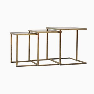 French Brass Nesting Tables, 1950s