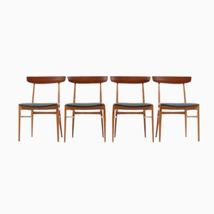Beech & Teak Dining Chairs, 1950s, Set of 4