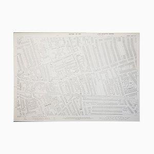 Cartina del quartiere Wimbledon a Londra dell'Ordnance Survey edizione 1933, anni '50