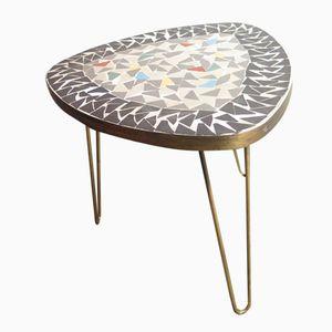 Tavolino tripode in ottone con superficie a mosaico, anni '50