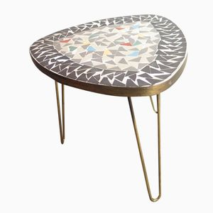 Tripod Brass Side Table with Mosaic Top, 1950s