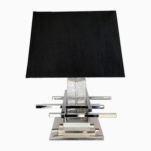 Italian Chrome and Glass Table Lamp, 1970s