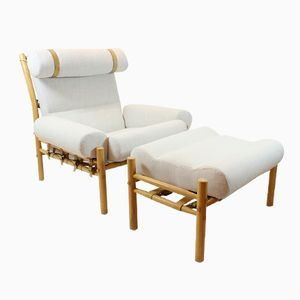Mid-Century Swedish Easy Chair with Footstool from Arne Norell Inca, 1960s