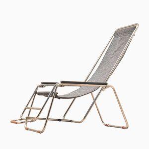 Lehnstuhl mit Rohrgestell aus Chrom mit Grauer Sitzfläche, 1930er