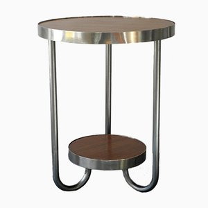 Mid-Century Round Tubular Steel and Walnut Side Table, 1950s