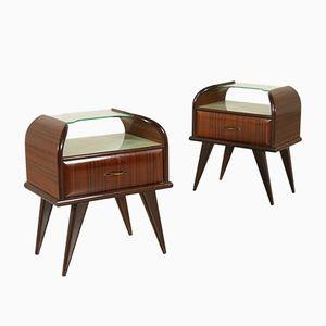 Tables de Chevet en Palissandre et en Verre, 1950s, Set de 2