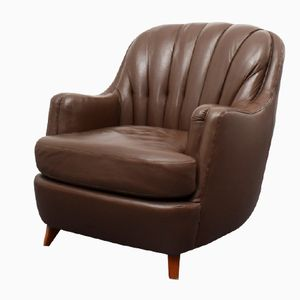 Vintage Brown Leather Lounge Chair, 1960s