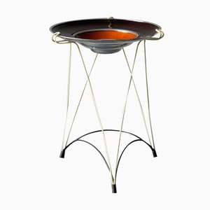 Mid-Century French Side Table with String Frame and Enamelled Aluminum Bowl, 1950s