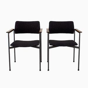 Chaises de Bureau en Métal et en Teck, 1960s, Set de 2