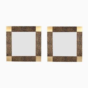Italienische Spiegel mit Bronze Rahmen von Luciano Frigerio, 1960er, 2er Set