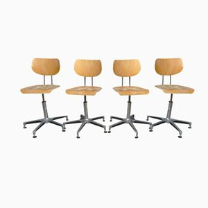 Industrial Vintage Swivel Chairs from Tubax, 1980s, Set of 4