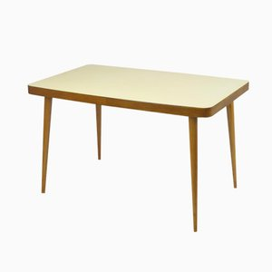 Yellow Top Wooden Dining Table, 1950s