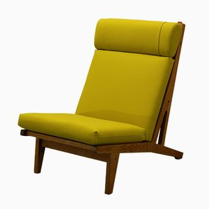 Danish Oak Lounge Chair with Yellow Cushions by Hans J. Wegner for Getama, 1960s