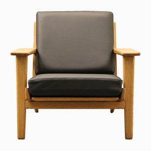 Black Leather GE 290 Easy Chair by Hans J. Wegner for Getama