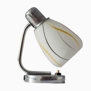 Mid-Century Chrome Lamp with Colorful Striped Lampshade from Napako