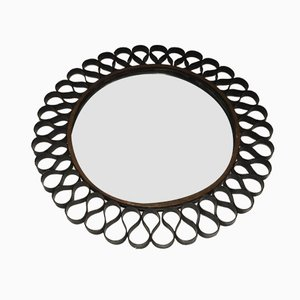 Mid-Century Black & Gold Lacquered Metal Mirror