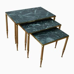 French Art Deco Marble & Brass Nesting Tables