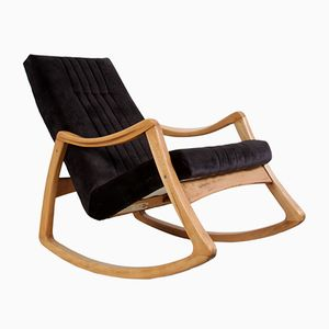 Mid-Century Beech & Velvet Rocking Chair