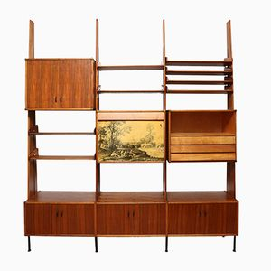 Italian Walnut & Brass Wall System, 1950s