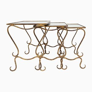 Gilded Wrought Iron Nesting Tables by René Drouet, 1940s