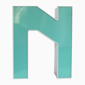 Vintage Turquoise & White Illuminated Letter N
