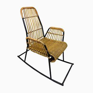 Chaise à Bascule Vintage en Rotin et en Acier