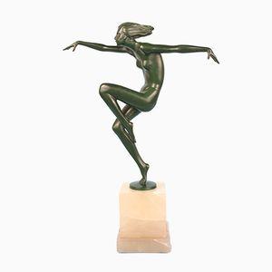Österreichische Art Deco Skulptur aus Bronze & Onyx von Josef Lorenzl, 1930er