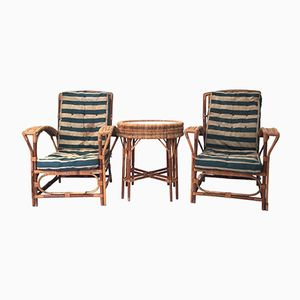 French Rattan Garden Table and Chairs, 1960s