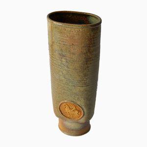 Vintage Ceramic Vase with Nude & Horse Medallion from Harro Frey