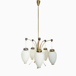 Italienischer Kronleuchter aus Messing & Glas mit Fünf Leuchten von Stilnovo, 1950er