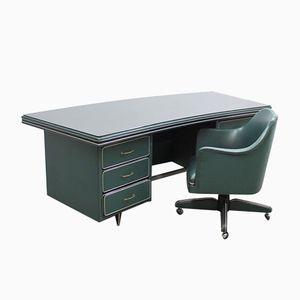 Mid-Century Italian Desk & Armchair from Umberto Mascagni, Bologna
