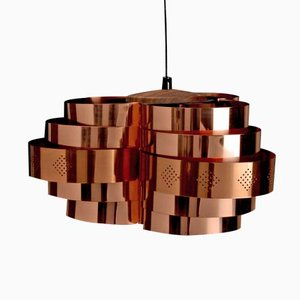 Danish Copper Pendant Lampby Werner Schou for Coronell Electro, 1960s