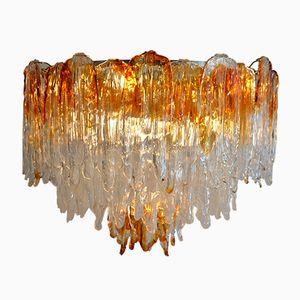 Vintage Murano Glas Flammen Kronleuchter von Mazzega