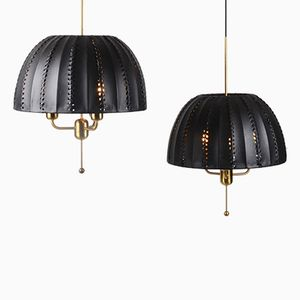 Pendants with Leather Shades by Hans-Agne Jakobsson for Markaryd, Set of 2