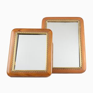Swedish Mahogany and Brass Mirrors from Josef Frank for Svenskt Tenn, 1950s, Set of 2