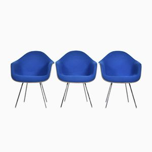 Blue & Greige DAX Chairs by Charles & Ray Eames for Herman Miller International Collection, 1970s, Set of 3