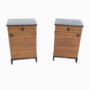 Zebrawood & Macassar Ebony Bedside Tables, 1940s, Set of 2