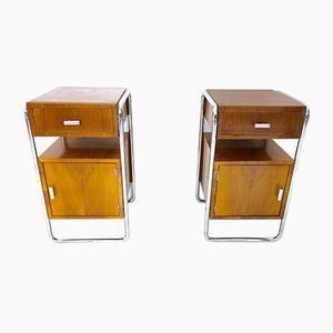 Walnut & Linoleum Bedside Tables, 1940s, Set of 2