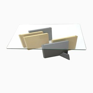 Crystal & Lacquered Wood Coffee Table, 1980s
