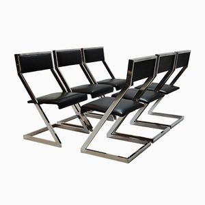 Chrome Plated Z Shaped Dining Chairs, 1970s, Set of 6