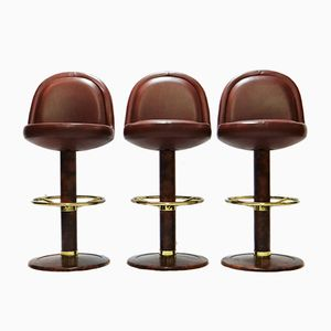 Vintage Leather Bar Stools, 1970s, Set of 3