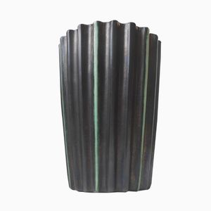 Art Deco Fluted Black & Green Stoneware Vase by Michael Andersen, 1930s