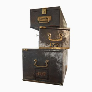Antique Spanish Safe Boxes, Set of 3