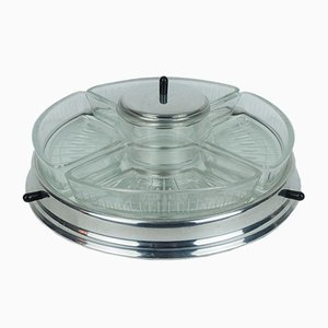 Vintage Art Deco Lazy Susan Relish Server with Rotating Tray