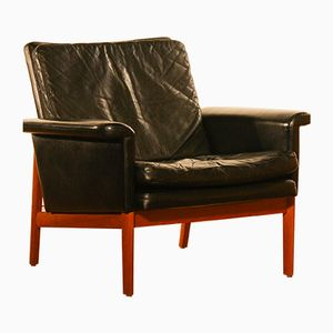 Jupiter Black Leather Lounge Chair by Finn Juhl for France & Søn, 1950s