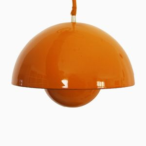 Flower Pot Ceiling Lamp in Orange by Verner Panton