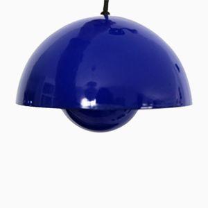 Blaue Flower Pot Deckenlampe von Verner Panton
