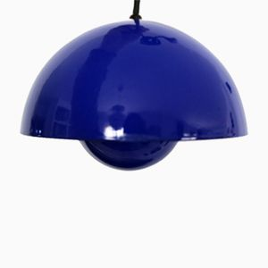 Flower Pot Ceiling Lamp in Blue by Verner Panton