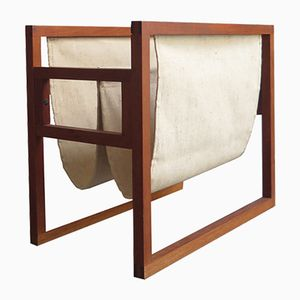 Vintage Teak and Linen Magazine Rack
